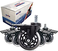 5 Piece 3'' Heavy Duty Quiet Swivel Replacement Office Chair Caster Wheels with Brakes/Locks - Roller Blade Style -Made fr...