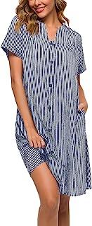 YOZLY Sleepwear Womens Duster Robe Button Down House Dress Short Sleeve Cotton House Coat Nightgown S-XXL
