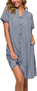 House Dress Women Cotton Duster House Coat Button Down Nightgown Lounger