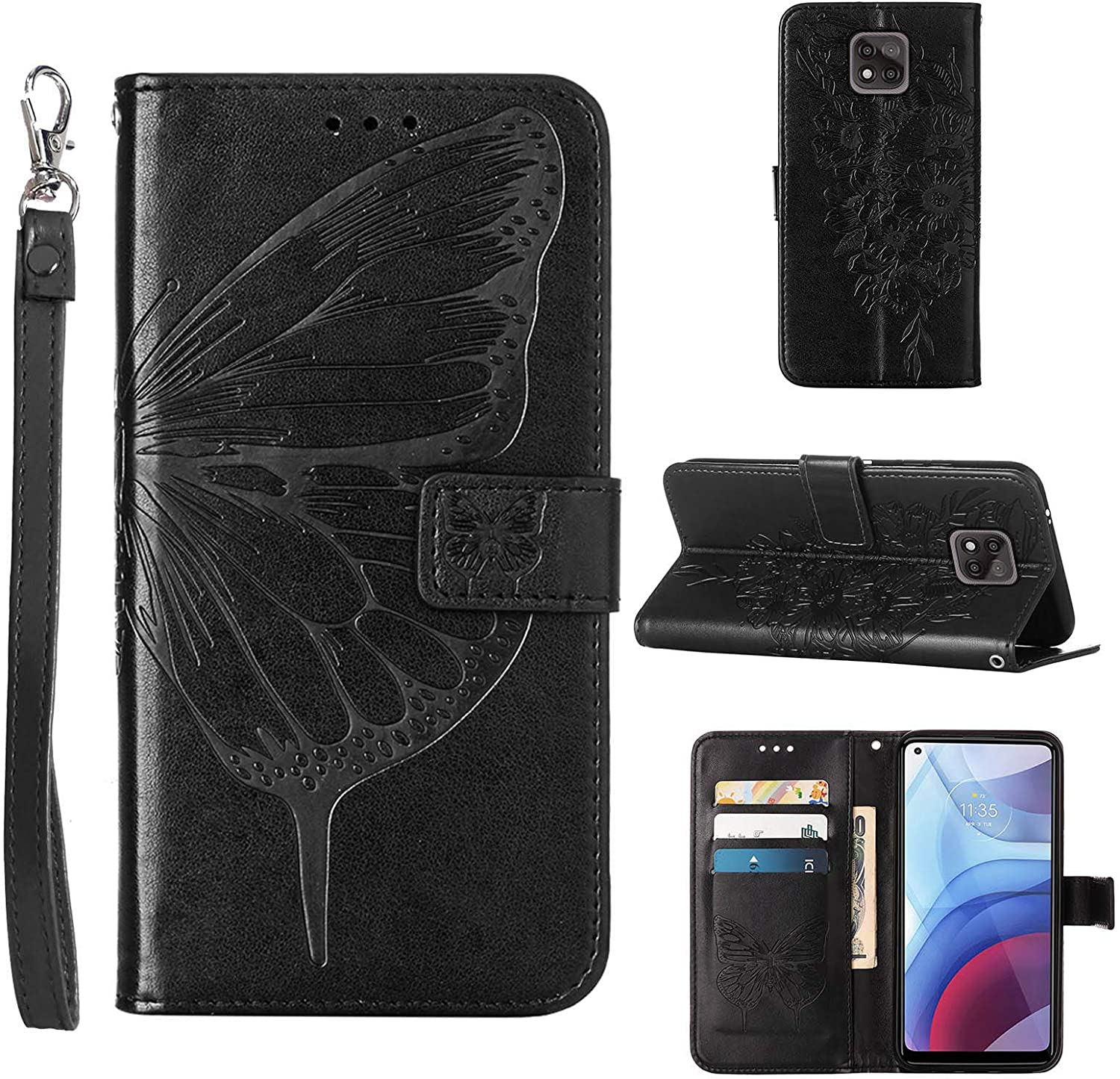 Compatible for Moto G Power 2021 Case Wallet,[Kickstand][Wrist Strap][Card Holder Slots] Butterfly Floral Embossed PU Leather Flip Protective Cover for Moto G Power (2021) Case (Black)