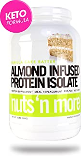 Nuts 'N More Vanilla Cake Batter Almond Infused Protein Isolate Powder, Keto, Low Carb, Low Sugar, Gluten Free, All Natural Sports Nutrition, 2 LBS