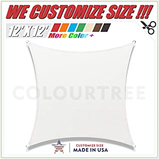 ColourTree 12' x 12' White Square Sun Shade Sail Canopy – UV Resistant Heavy Duty Commercial Grade - We Make Custom Size