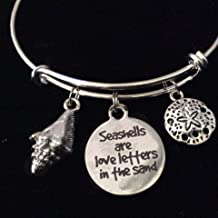 Seashells are Love Letters in the Sand Beach Nautical Sand Dollar Expandable Charm Bracelet Adjustable Wire Bangle