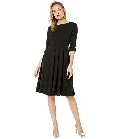 Unique Vintage 1950s Style Sparkle Sleeved Nicole Swing Dress (Black) Women
