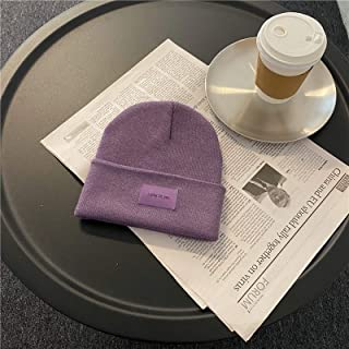 Girls Keep Warm, Simple And Versatile Label Design Sense Knitted Woolen Hat High Quality (Color : Purple)