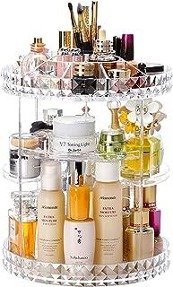 Cq acrylic 360 Degree Rotating Makeup Organizer, Adjustable Acrylic Carousel Cosmetic Display Storage for Vanity, Bathroom, Countertop and Dresser