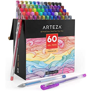 Arteza Gel Pens, Set of 60-Individual-Colors, 0.8-1.0 mm Tips, Acid-Free & Non-Toxic, Art Supplies for Journaling, Doodling, Drawing