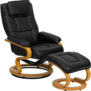 Flash Furniture Contemporary Multi-Position Recliner and Ottoman with Swivel Maple Wood Base in Black Leather