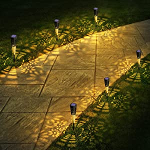 Solar Pathway Lights Outdoor 6 Pack , Landscape lights,Waterproof Solar Garden Lights ,Auto On/Off Solar Walkway Lights for Garden, Patio, Yard, Landscape, Pathway, Driveway, Lawn(Warm White) (6 Pack)