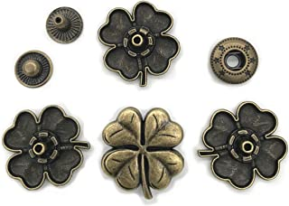 10 Set Bronze Vintage Antique Metal Snap Button Fastener, Four-Leaf Clover Buttons, for Leather Craft DIY Overall Jacket, with Caps Sockets Studs