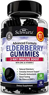 Natural Sambucus Elderberry Gummies - Dr. Approved 3-Way Immune Support with 100% Vitamin C & Zinc - Powerful Daily Vegan ...