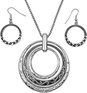 3 Ring Pendant Statement Necklace & Earring Set - Assorted Colors