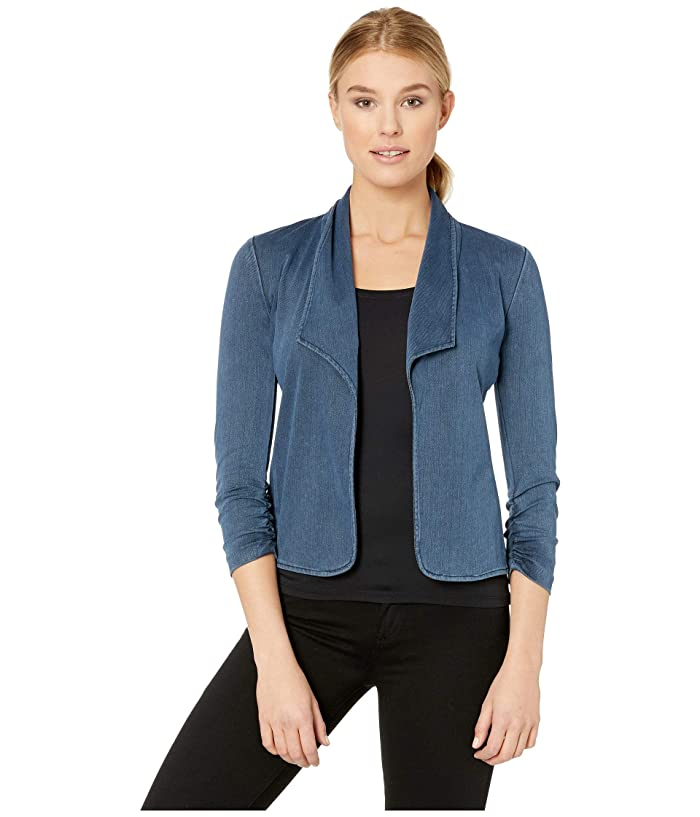 Elliott Lauren Knit Jacket with Ruched Sleeve (Denim) Women's Coat