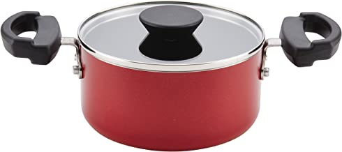 Farberware Neat Nest Space Saving Nonstick Saucepot/Saucepan with Lid/Dishwasher Safe, Made In The USA, 1.5 Quart, Red