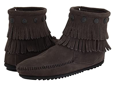 Minnetonka Double Fringe Side Zip Boot (Grey Suede) Women