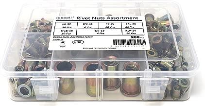 iExcell 200 Pcs #6-32UNC #8-32UNC #10-24UNC 1/4-20UNC 5/16-18UNC 3/8-16UNC 1/2-13UNC Carbon Steel Threads Flat Head Rivet Nuts Assortment,Yellow Zinc Plated Finish