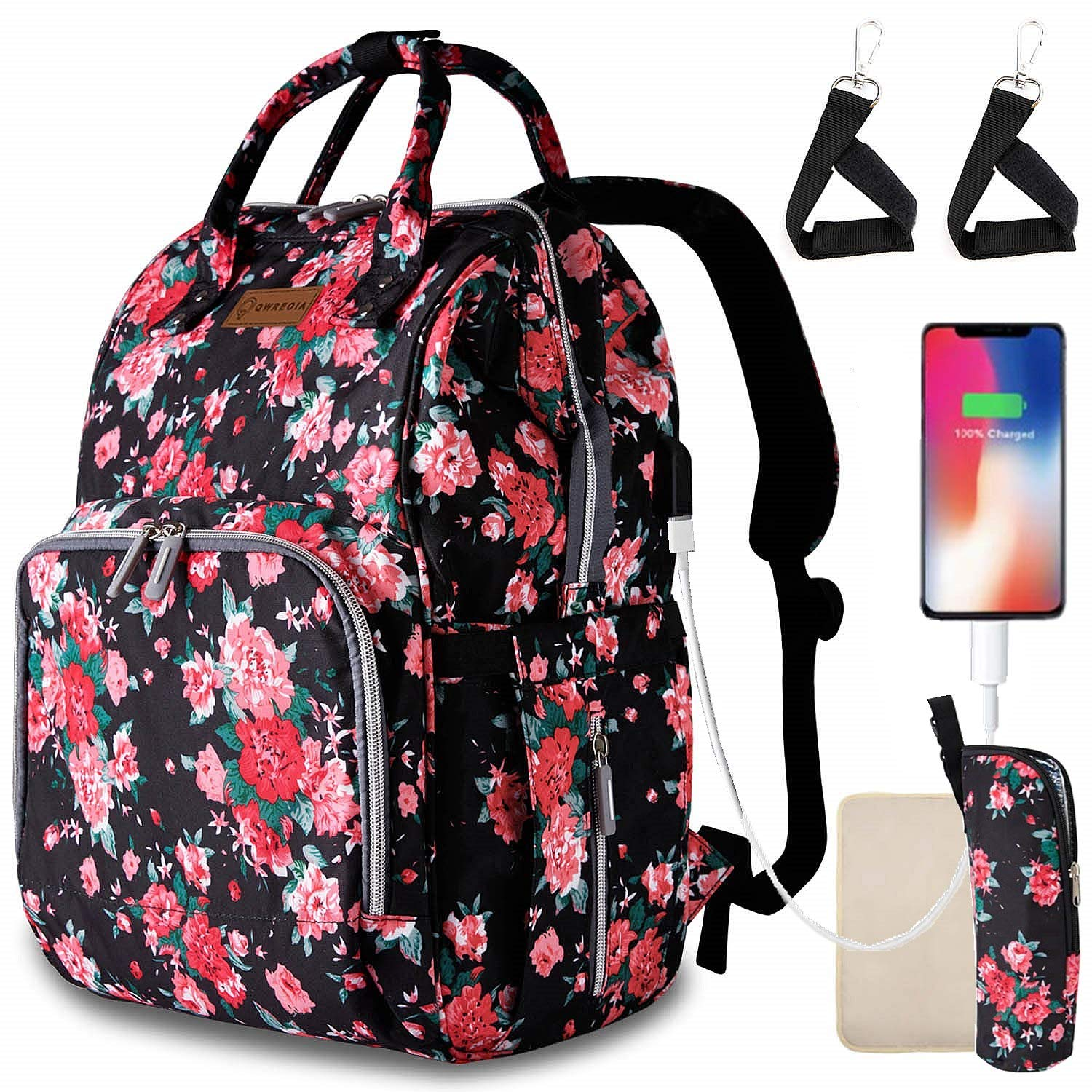 Diaper Bags for Baby Girl,Floral Baby Bag with USB Charging Port Stroller Straps and Insulated Pocket for Women/Girls/Mum/Toddler by Qwreoia (Red Flower Pattern)