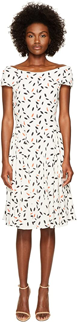 Zac Posen - Feather Print Crepe Short Sleeve Dress