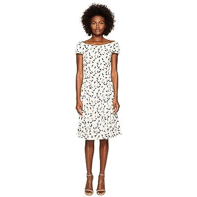 Zac Posen Feather Print Crepe Short Sleeve Dress (Ivory/Coral) Women