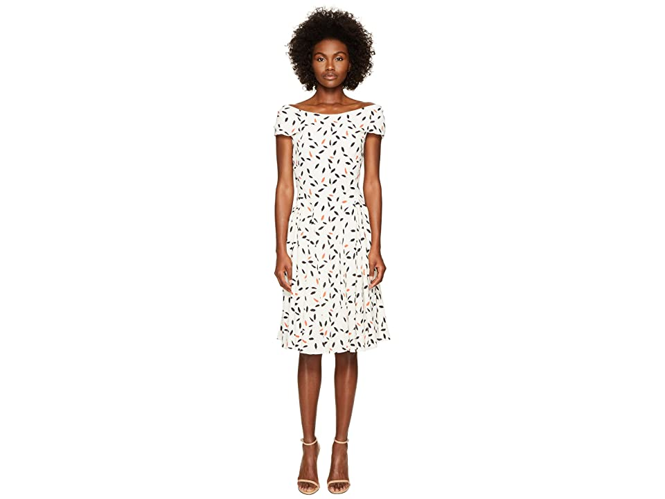 Zac Posen Feather Print Crepe Short Sleeve Dress (Ivory/Coral) Women