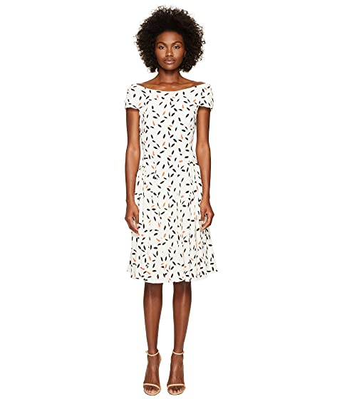 Zac Posen Feather Print Crepe Short Sleeve Dress