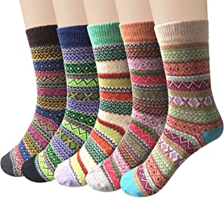 5-6 Pairs Womens Wool Socks Cold Weather Vintage Soft...