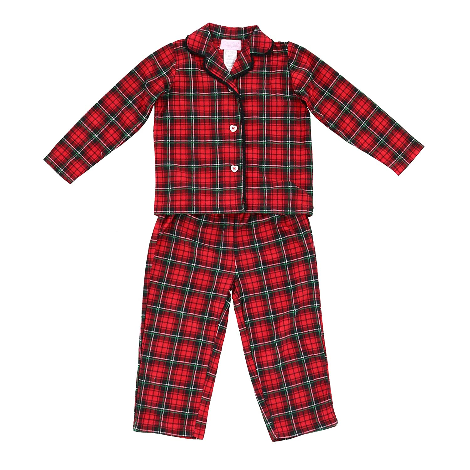 Rene Rofe Toddler Girl's Plaid Long Pajama Set with Button Down Top, 3T, Red