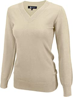 YEMAK Women's Long Sleeve V-Neck Basic Soft Knit T-Shirt Pullover Sweater
