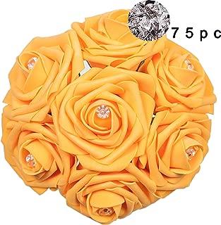 Carreking Artificial Flowers Roses 75pcs & 75pcs Diamonds as a Present Orange Fake Roses/DIY Wedding Bouquets Shower Party Home Decorations Arrangements Party Home Decorations (Orange+Diamond)