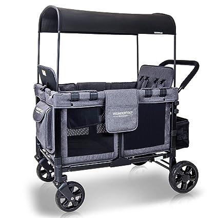 WONDERFOLD W4 4 Seater Multi-Function Quad Stroller Wagon - Maximum Safety & Security