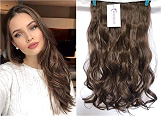 3/4 Full Head Clip in Hair Extensions Ombre One Piece 2 Tones Wavy Curly DL (Chocolate brown)