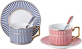 Set of 2 Elegant Modern Blue And Red Tea Cups and Saucers Set-Coffee Cup Set with Saucer and Spoon FD-TCS17 (Strip pattern)