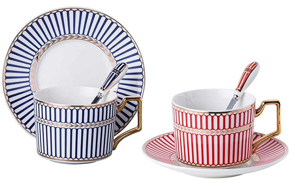 Set of 2 Elegant Modern Blue And Red Tea Cups and Saucers Set-Coffee Cup Set with Saucer and Spoon FD-TCS17 (Strip pattern) n4910700061316