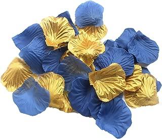 CheckMineOut Set of 600 Royal Blue & Gold Silk Rose Petals Artificial Flowers Wedding Centerpieces Decoration Confetti Party Favor