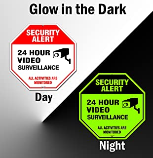 Video Surveillance Sign Outdoor   No Trespassing Glow-in-The-Dark Large Warning Sign   12