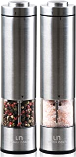 Electric Salt and Pepper Grinder Set - Battery Operated Stainless Steel Mill with Light (2 Mills) - Automatic One Handed Operation - Electronic Adjustable Shakers - Ceramic Grinders