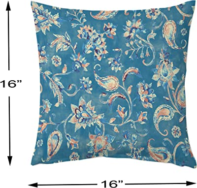 STITCHNEST Floral Decorative Blue and White Printed Canvas Cotton Square Cushion Covers, Set of 5 (16 x 16 Inches)