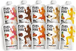 Fuel For Fire - Variety Pack - 5 Flavors (10 Pack) Fruit & Protein Smoothie Squeeze Pouch | Perfect for Workouts, Kids, Snacking - Gluten-Free, Soy-Free, Kosher (4.5 ounce pouches)
