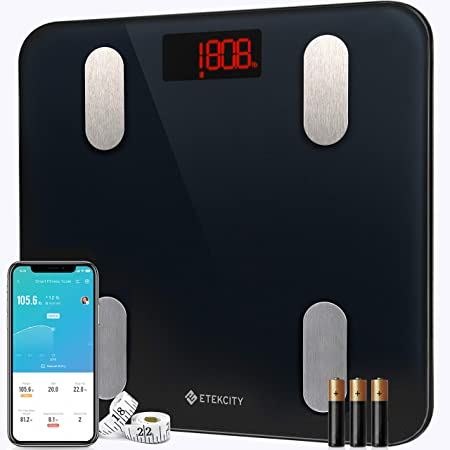 Etekcity Scales for Body Weight Bathroom Digital Weight Scale for Body Fat, Smart Bluetooth Scale for BMI, and Weight Loss, Sync 13 Data with Other Fitness Apps