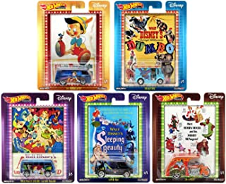 Hot Wheels 2019 Pop Culture Disney Classic Series Premium Collectible Diecast Cars, Set of 5
