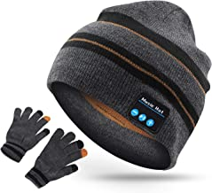 RQN Bluetooth Wireless Music Soft Hat with Gloves Warm Beanie with Stereo Headphone Speaker Wireless Mic Hands-Free Suits for Men Women Fitness Winter Outdoor Sports Christmas Birthday Gift (Suits 2)