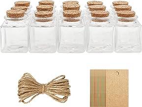 BELLE VOUS Pot avec Bouchon Liege en Verre, Étiquettes et Ficelle (Lot de 15) - 50 ML - Mini Pot Conservation Carré, Hermétiques et Étiquettes pour Mariage, Fête, Épices et Confitures