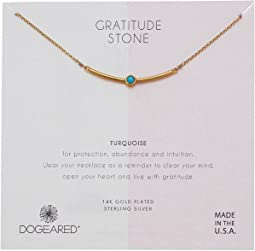 Dogeared Turquoise=Abundance, Curved Bar with Turquoise Gem Stone Necklace