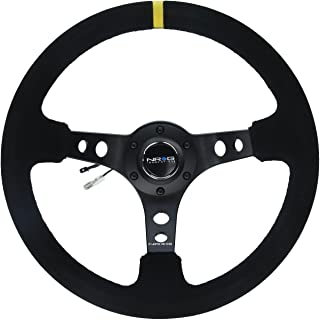 NRG Innovations RST-006S-Y Reinforced Steering Wheel (350mm Sport Steering Wheel (3' Deep) - Suede Black Stitchwith Yellow Center Mark)