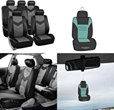 FH Group PU021115 Synthetic Leather Full Set Auto Seat Covers, Gray Black Color w. Free Air Freshener - Fit Most Car, Truck, SUV, or Van