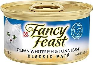 Purina Fancy Feast Grain Free Pate Wet Cat Food, Classic Pate Ocean Whitefish & Tuna Feast - (24) 3 oz. Cans
