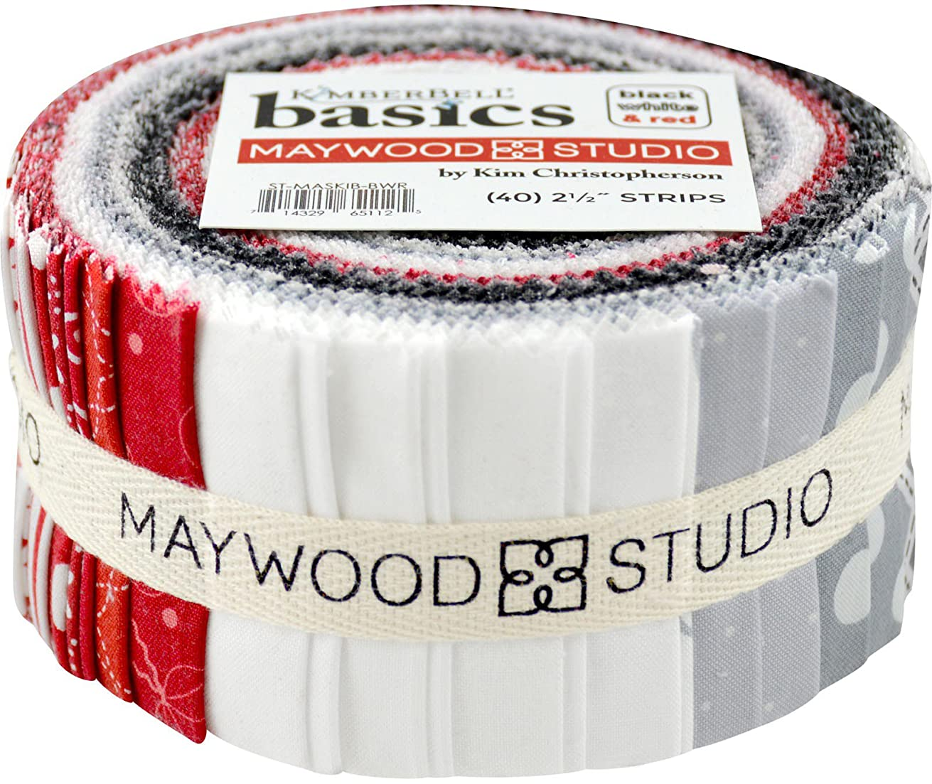 KimberBell Basics Black White & Red Strips 40 2.5-inch Strips Jelly Roll Maywood Studio