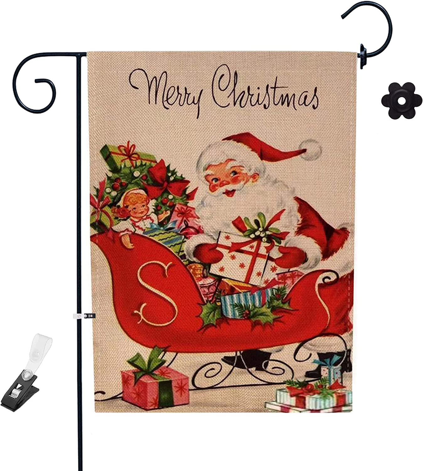 Zgoo Christmas Garden Flag, Happy Christmas Decoration 12 x 18 Inch House Merry Christmas Outdoor Decor Double Sided Printed Decorative for Home Lawn Yard