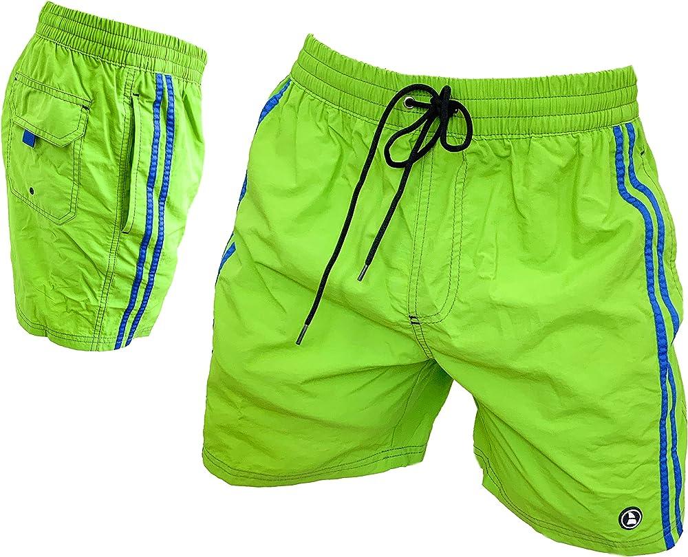 Navigare, costume da bagno per uomo a pantaloncini, 100% poliestere, lime