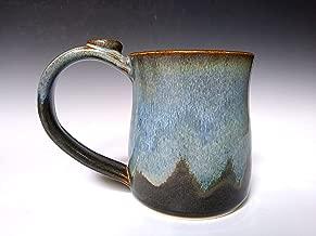 Ceramic Mug, Coffee and Tea Cup, Handmade Stoneware Pottery, Stone Grey with Light Blue Swirl